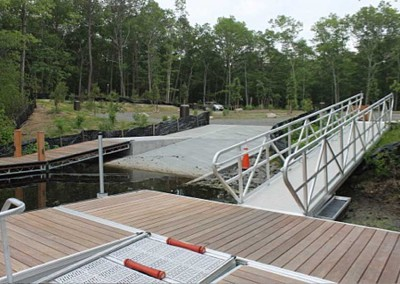 30' long x 4' wide ADA gangway leading to commercial dock & launch system