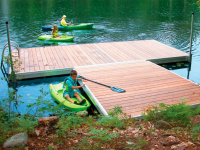 Aluminum floating low freeboard docks with Ipe hardwood decking