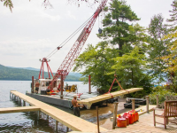 One of our crews installing a commercial pile dock at a homeowners association