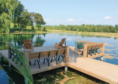Alternative to a pond dock - our custom pile dock on a residential pond