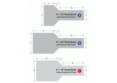 (A) 4' x 16' pond dock dimensions   (B) 4' x 20' pond dock dimensions   (C) 4' x 16' pond dock dimensions