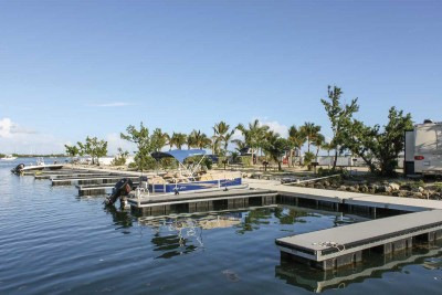 Aluminum commercial floating docks at Boyd's Campground, Key West, Florida