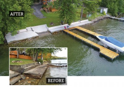 100' long concrete seawall and patio repair on Lake George, including a new concrete boat ramp and stairs.