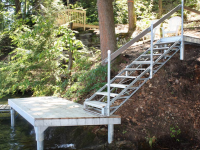 Pile dock as a landing for waterfront stairs