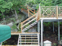 Shoreside platform used as a landing platform for a steel stair system