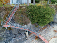 Freespan steel stairs for waterfront access