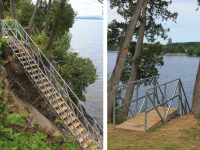 Freespan steel stairs to access a site that would otherwise be inaccessible