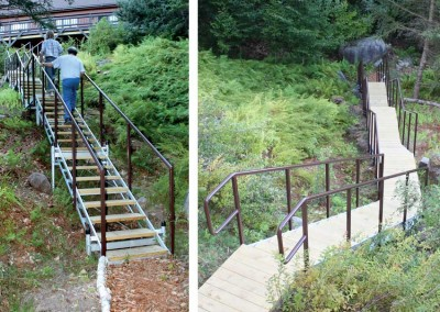 Stairs designed for a gradual, sloping site