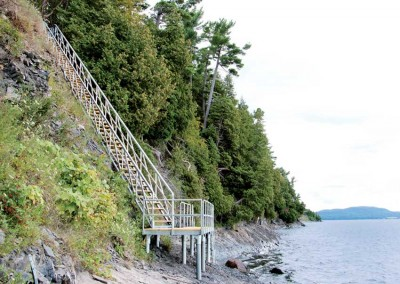 Steel stairs for cliffside waterfront access