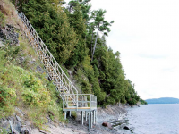Steel stairs for cliffside water access