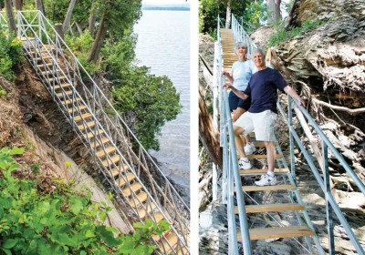 Steel stair system allows access to the water on a site with a cliff