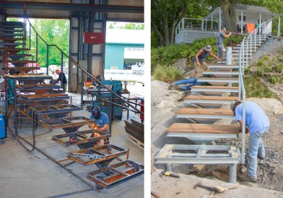 We design, manufacture and install custom stairs for waterfront sites