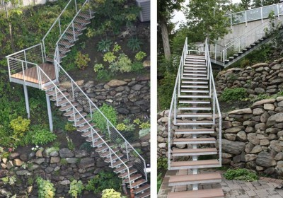 Mono-beam free span stair systems are ideal for use in a landscape setting (designed to provide minimal aesthetic impact).