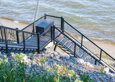Black powder coated beach stairs with spindle style rail