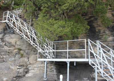 Steel stairs and our shoreside platform