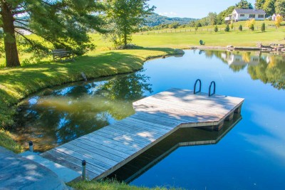 4' x 20' pond dock with cedar decking and powder coated aluminum ladder