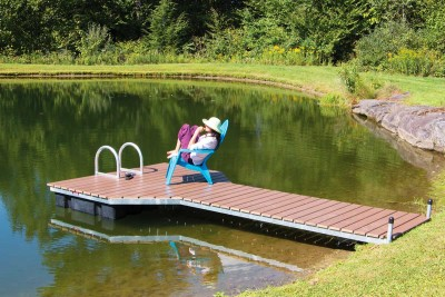 4' x 16' pond dock with steel frame and composite decking